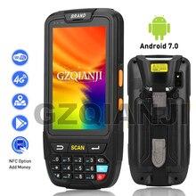 Terminal de mano resistente PDA, Android 7,0, colector de datos, inalámbrico, 1D, 2D, QR, lector de Escáner DE CÓDIGO DE Barras láser, NFC, Terminal 4G