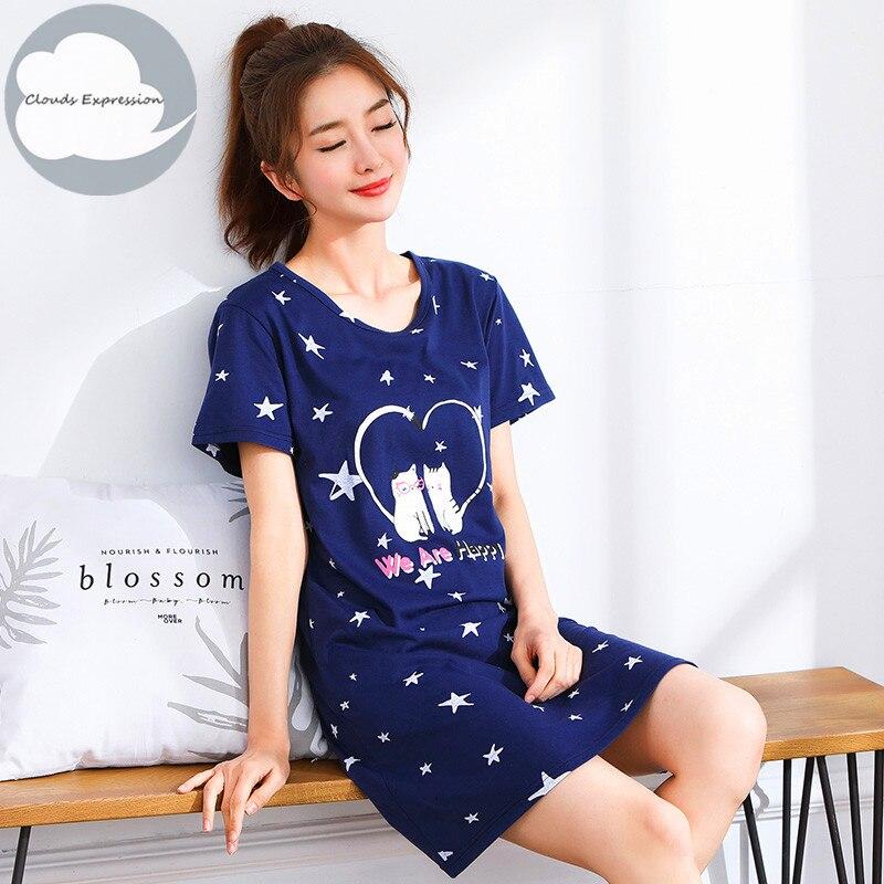 2019 Summer Knitted Cotton O-neck Women Short Sleeved Cartoon Sleepwear Girl Nightgown Nightwear Nightdress Sleepwear Nightgowns