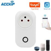 ACCKIP Tuya Smart Life Wifi Socket Israel Plug 16A App Remot Control Voice Control