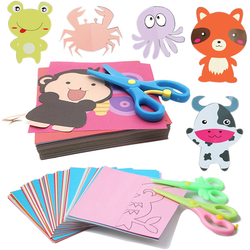 24Pcs/set Kids Cartoon Color Paper Folding And Cutting Toys/children Kingergarden Art Craft DIY Educational Toys