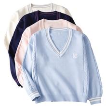 Pullovers Sweaters Zhong School-Uniform JK Long-Sleeve Student Autumn Winter Tops Yue