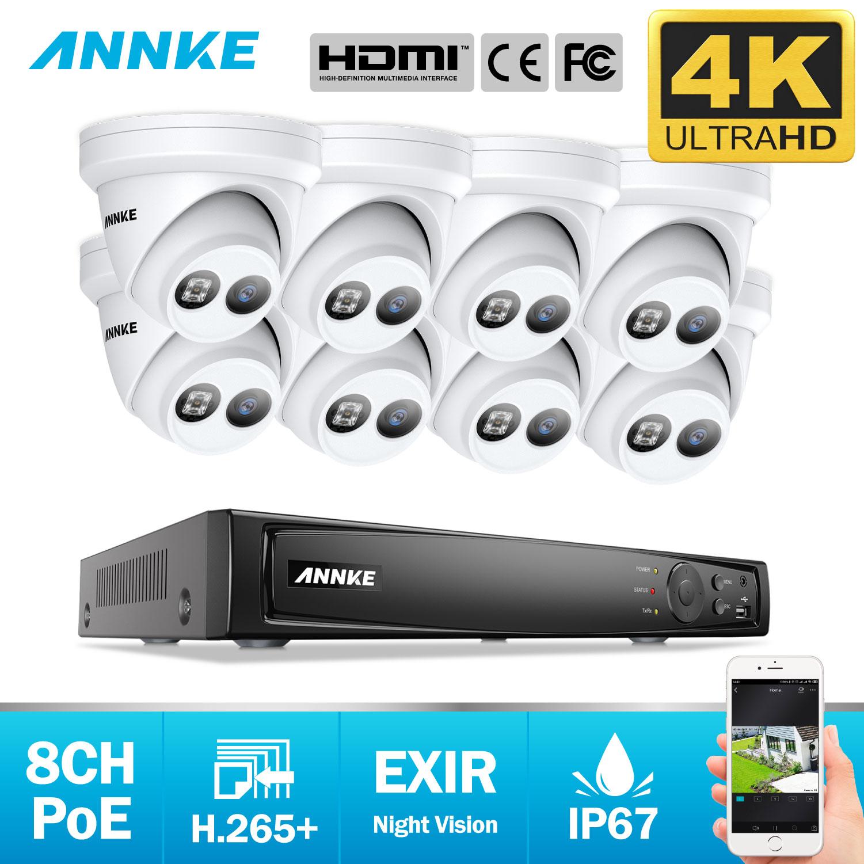 ANNKE 8CH 4K Ultra HD POE sistema de seguridad de vídeo de red 8MP H.265 NVR con 8X8 MP 30m EXIR visión nocturna cámara IP a prueba de intemperie
