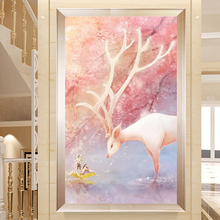 Youran Full Round/Sqaure Rhinestone Painting DIY Diamond Embroidery Pink Deer Landscape Home Living Room Decoration Picture Gift