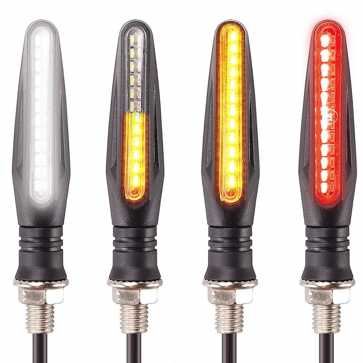 2x Motorcycle Indicators Front Flowing Turn Signal & White Daytime Running Light Rear Dynamic Led Turn Signals & Red Brake Light