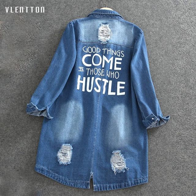 Plus Size 9XL Autumn Long Women's Denim Jacket Coat Hole Letter Oversize Casual Loose Jeans Jackets Female Outwear Windbreaker 1