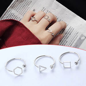 Opening-Ring Women Girls Crystal Polygon Trendy 1PC Geometry Square Temperament Triangle