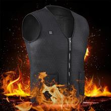 Men Women Outdoor USB Infrared Heating Vest Jacket Winter Flexible Electric Thermal Clothing Waistcoat For Sports Hiking Fishing cheap CN(Origin) Fits true to size take your normal size heated vest polyester carbon fiber