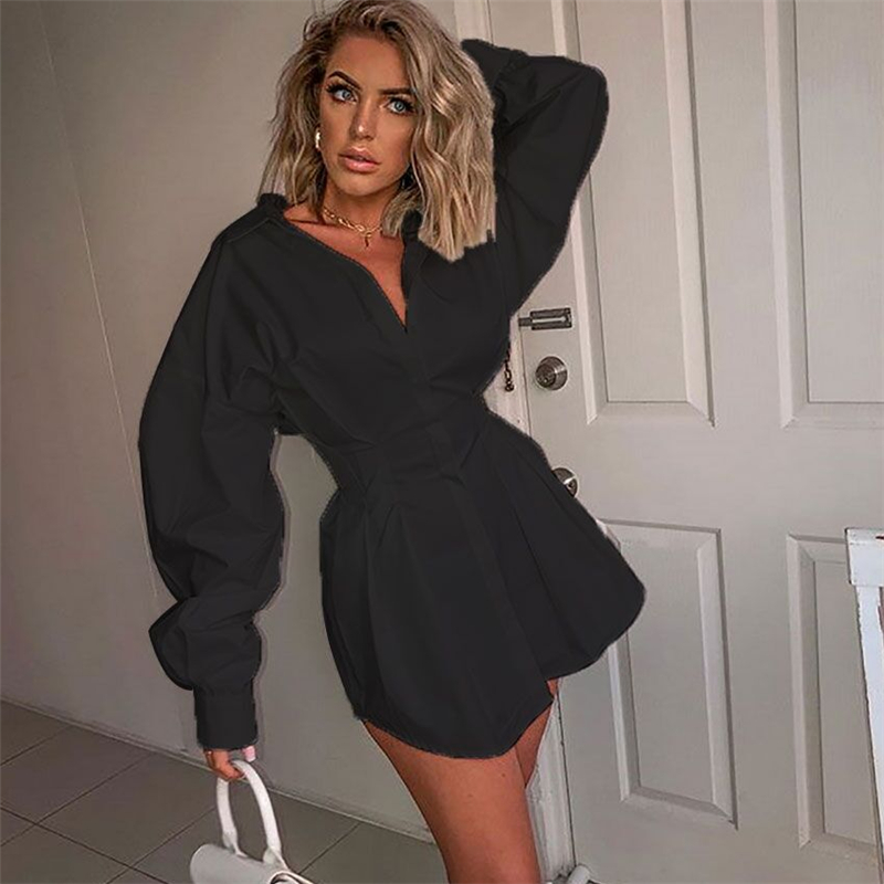 2020 Autumn new Fashion Women Blouse Shirt Dress Casual Long Sleeve Lapel Blouse Tops Office Lady Elegant Shirts