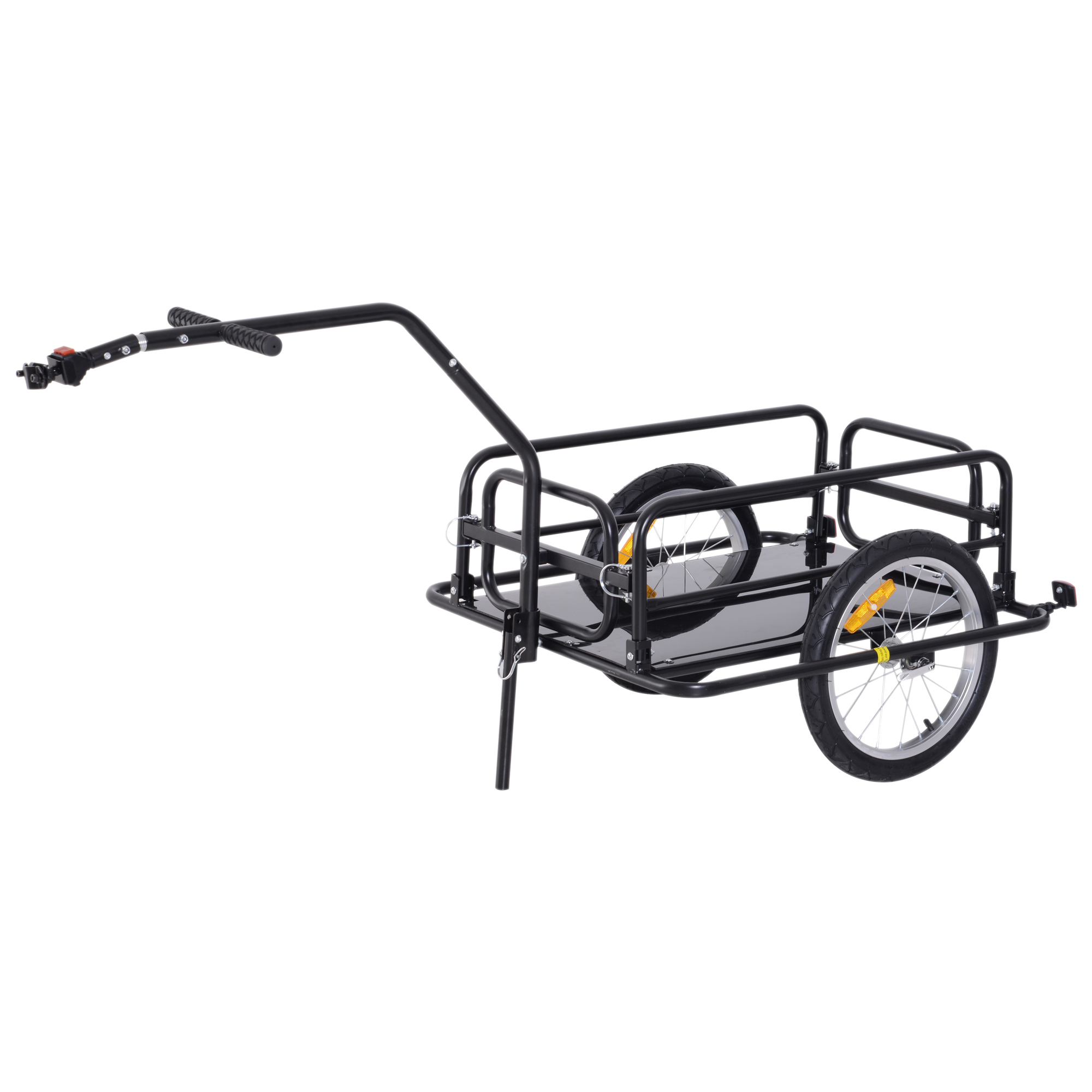HOMCOM Cart Trailer Cargo Bike Folding Items Reach 40kg For Bicycle 155x71.5x77cm