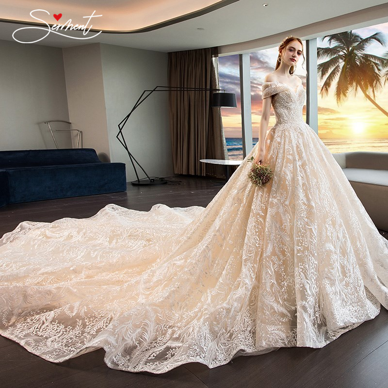 OLLYMURS Noble Luxury Church Wedding Dress Empire Off The Shoulder Ball Gown Back Lace Up Cathedral Lacework Applique