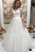 2020 New Illusion A-Line Half Sleeves Wedding Dresses Boat Neck Button Back Lace Appliques Bridal Gowns vestido de noiva