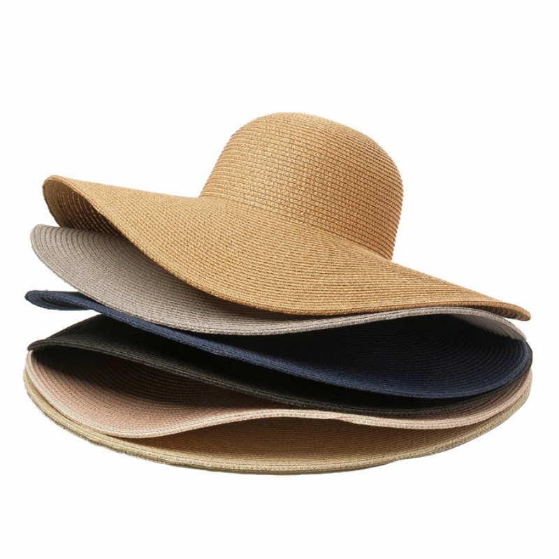 Summer Solid Color Straw Hat Women Big Wide Along The Beach Hat Simple Foldable Sun Hat Sunscreen UV Resistant Panama Sun Cap