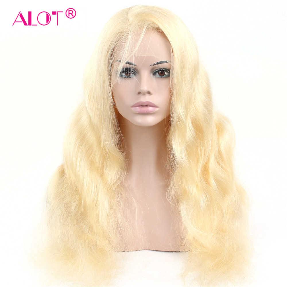 Peluca frontal de encaje Rubio de miel sin pegamento 613 cabello humano 150% encaje transparente brasileño onda del cuerpo de encaje peluca delantera Remy cabello peluca mucho