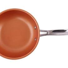 24 см круглая медная антипригарная сковорода для стейка, яиц, сковорода, кухонные инструменты для приготовления пищи
