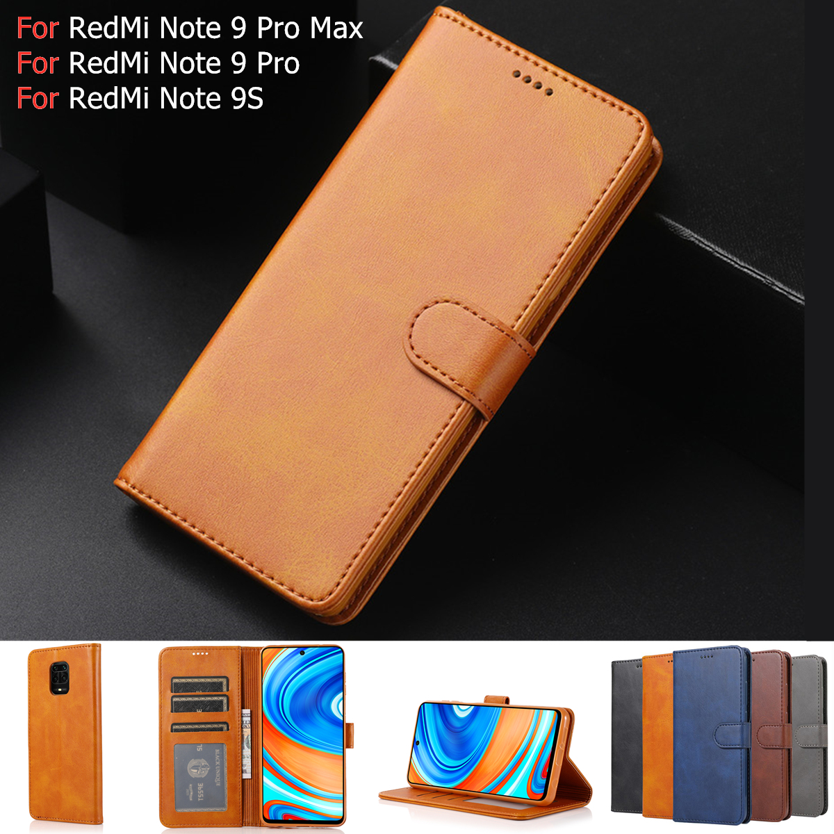 Case For Xiaomi Redmi Note 9S Pro Cover Case Luxury Magnetic Leather Wallet Phone Bag On Xiomi Redmi Note 9 8 Pro Note9 Pro Max