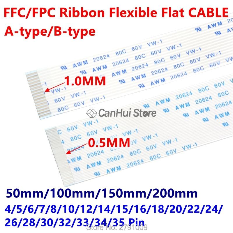 10 шт. FFC/FPC ленточный Гибкий плоский кабель 1,0 мм 50/100/150/200 мм A B Тип контакта 4P 6 7 8 10 12 14 18 20 22 24 26 30 32 34 35 Pin