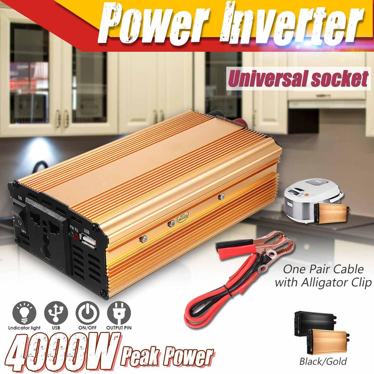 12V 220V 4000W Pico Carro Inversor carro Inversor de Energia Solar Tensão do Transformador Conversor 12 220 Carregador Solar inversor 12V 220V