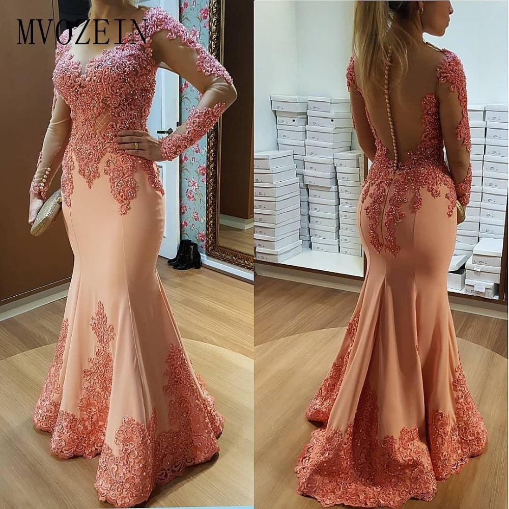 Long Sleeves Muslim Evening Dresses 2019 Mermaid Lace Beaded See Through Islamic Dubai Saudi Arabic Long Evening Gown