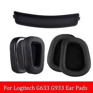 Headphone Earpads Covers for Logitech G633 G933 Headphone Cushion Pad Replacement Ear Pads Head Beam Sponge 1Pair Ear cotton(China)