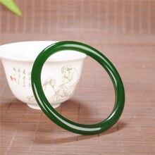 Китайский зеленый нефритовый Круглый браслет 54-66 мм, очаровательные ювелирные изделия, модные аксессуары, ручной работы, амулет на удачу для мужчин и женщин, подарки