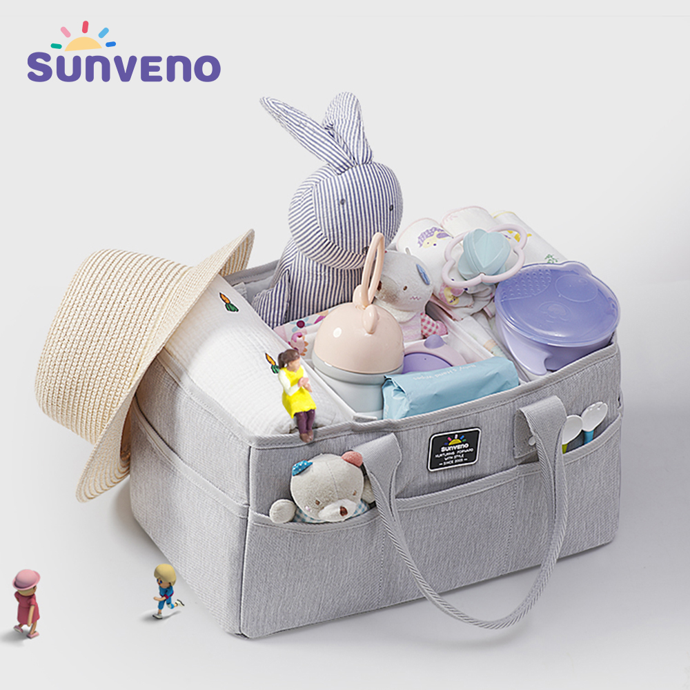Sunveno Baby Diaper Caddy Organizer Portable Holder Bag for Changing Table and Car Nursery Essentials Storage Bins Diaper Bag