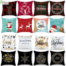 купить 45x45cm Cotton Linen Merry Christmas Cover Cushion Christmas Decorations for Home Happy New Year Decor 2019 Navidad Xmas Gift дешево