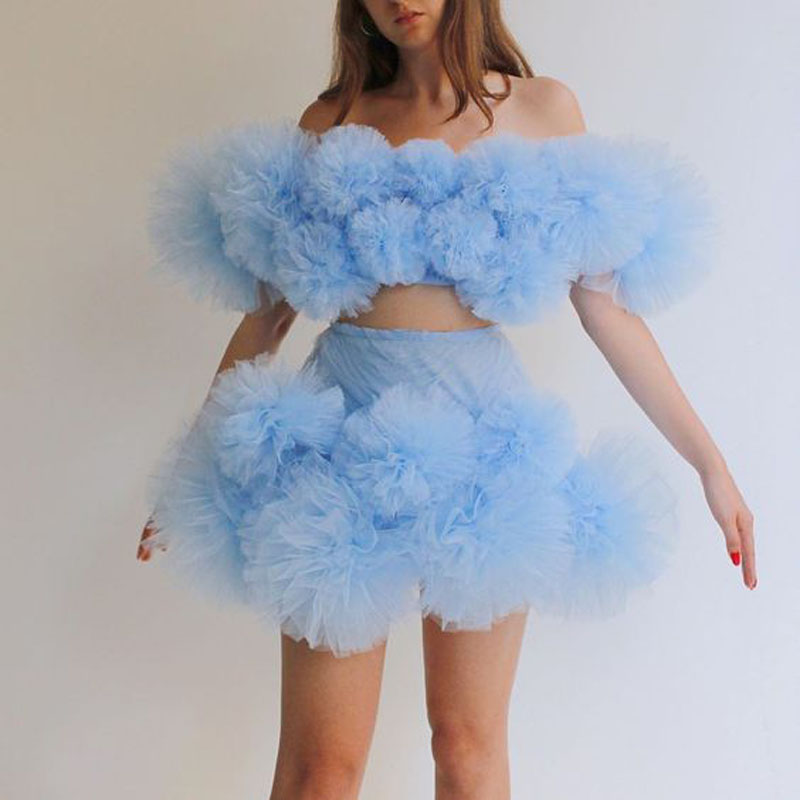 Sky Blue Mini Skirt For Women Ruffled Tulle Chic Tutu Skirts Personalized Girls Party Gown 2020 Custom Made NO TOP