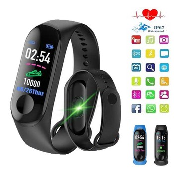 Sports Pedometer M3Plus Smart Wristband Watch Bluetooth Heart Rate Monitor Fitness Smart Bracelet Walking Step for IOS Android