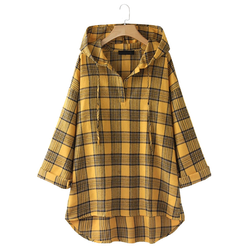 Vintage Plaid Hooded Shirt Blouse Women Spring Autumn Long Sleeve Yellow Shirts Female Mid-Length Plus Size Loose Hooded Tops