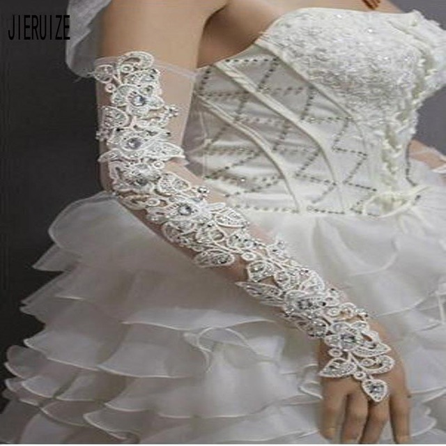 JIERUIZE White Wedding Gloves Lengthened Bridal Gloves Ivory Lace Appliques Long Fingerless Wedding Accessories