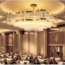 Lámpara de cristal de la sala de estar oro de lujo vestíbulo del hotel restaurante iluminación rectangular postmoderna villa modelo de habitación