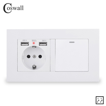COSWALL EU Russia Spain Wall Socket With 2 USB Charge Port + 1 Gang 3 Way On / Off Intermediate Crossover Light Switch PC Panel - discount item  12% OFF Electrical Equipment & Supplies