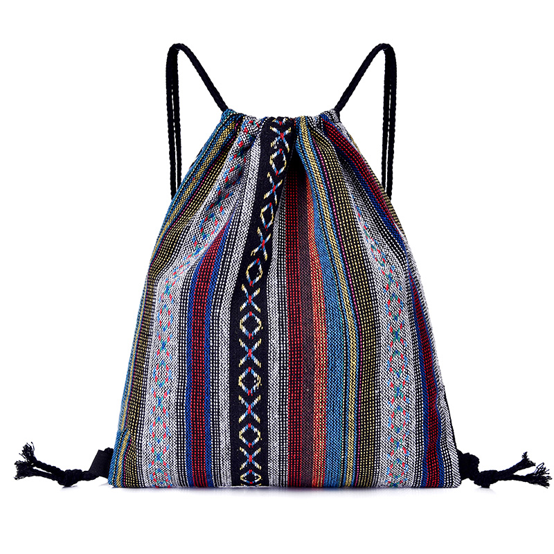 Vintage National Women Girl  Canvas Drawstring Bags  Weave  Cloth Cotton Shoulder String Stripe Bag Pouch Pack Fashion Shopping