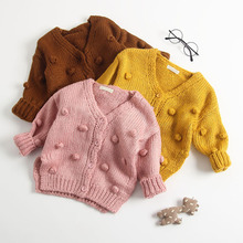 New Baby Hand-Made Bubble Ball Sweater Knitted Cardigan Jacket Coat Girls Autumn Winter Sweaters