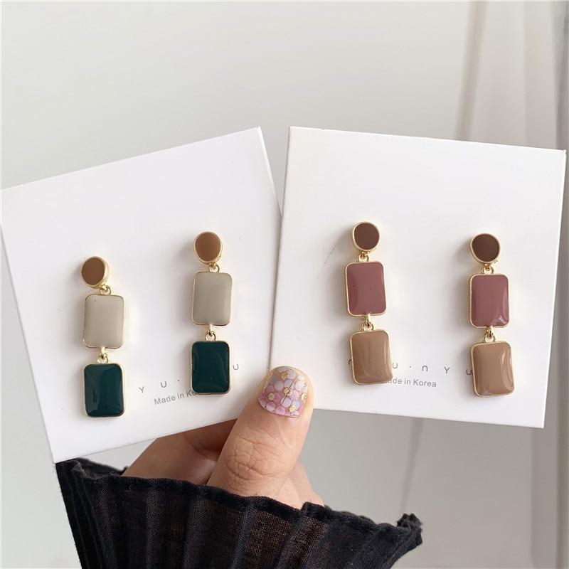 Элегантные женские модные темпераментные серьги с глазурью, цветные серьги гвоздики геометрической формы, длинные серьги, ювелирные изделия, аксессуары|Серьги-гвоздики|   | АлиЭкспресс