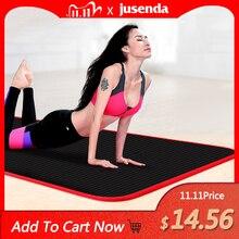 10MM Yoga paspaslar kalınlaşmış kaymaz spor yırtılmaya dayanıklı NBR spor paspaslar spor salonu Pilates pedleri Yoga Mat çantası ve bandajlar