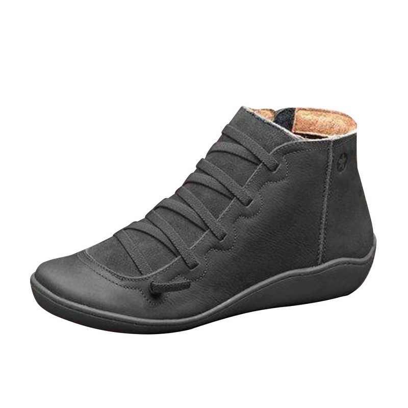 "Vertvie Boot Casual 2019 Thu Đông Retro Giày Bốt Nữ Thời Trang Da PU Cổ Chân Giày Zapatos De Mujer ""WRAM Botas"