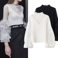 New sexy Turtleneck Shirt half hollow perspective feathers lace stitching Sleeve Jersey Girl