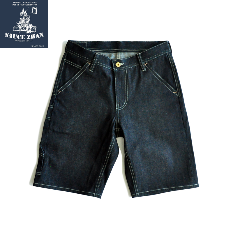 SauceZhan 266XX Shorts Jeans Man Raw Denim Jeans Knee Length Selvedge Denim Jeans Mens Jeans Indigo Straight Casual