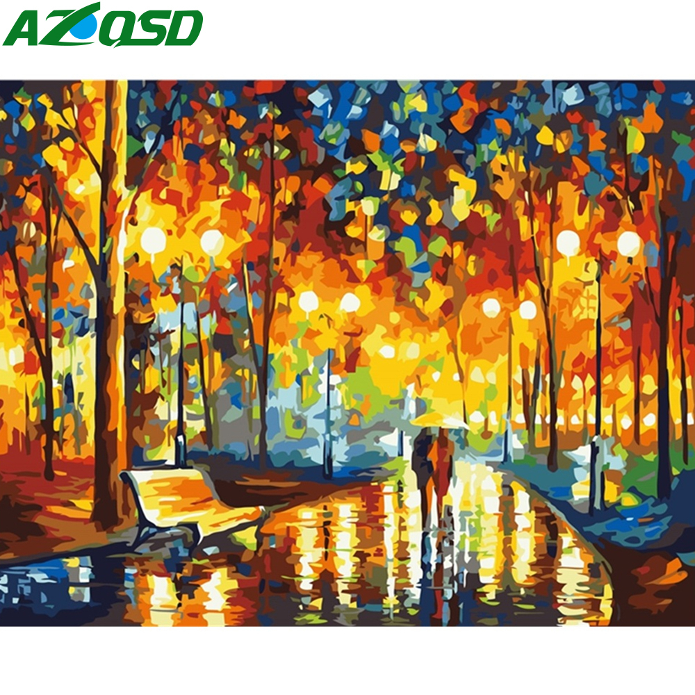 AZQSD Canvas Painting Numbers Night-Street-Pictures 40x50cm Home-Decor Colorful Szyh066