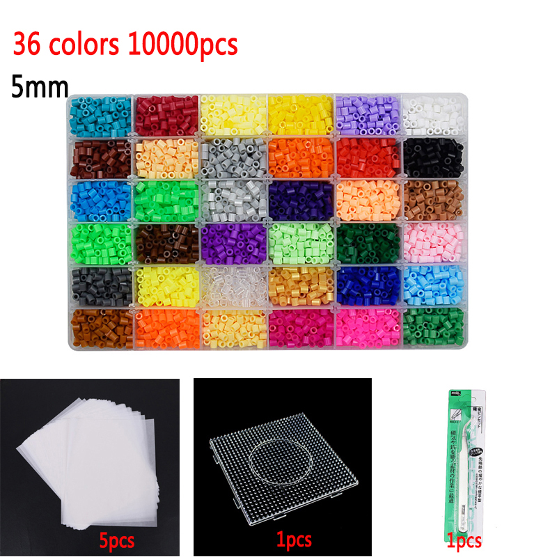 5mm24/36 colors box set hama beads perler Educational 3d Puzzles Kids diy toys fuse beads plussize pegboard sheets ironing paper(China)