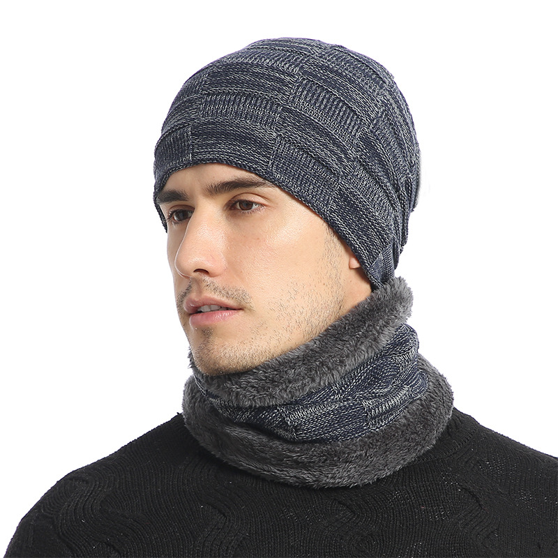 Winter Hat Scarf Set For Men Knitted Hats Scarf Beanies Hat Mens Warm Thick Beanie Cap Scarf For Winter Knit Ski Beanies 2019
