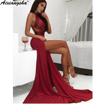 Burgundy 2019 Prom Dresses Mermaid Halter Neck Lace Party Maxys Long Prom Gown High Slit Sexy Evening Dresses Robe De Soiree