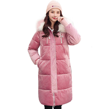 Winter Jacket Women Thickening Down Cotton Heavy Artificial Wool Hat Parka Manteau Femme Hiver Bayan Mont Icebear Long Coat