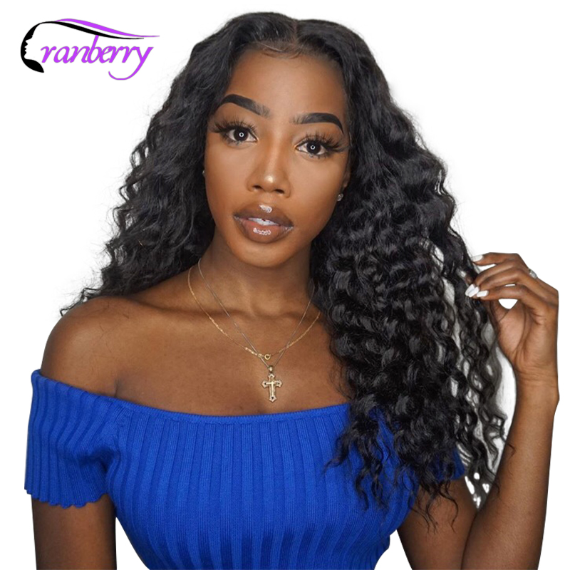 Cranberry Hair 4X4 Closure Wig Brazilian Hair Deep Wave Wig 100 Remy Hair Lace Front Human