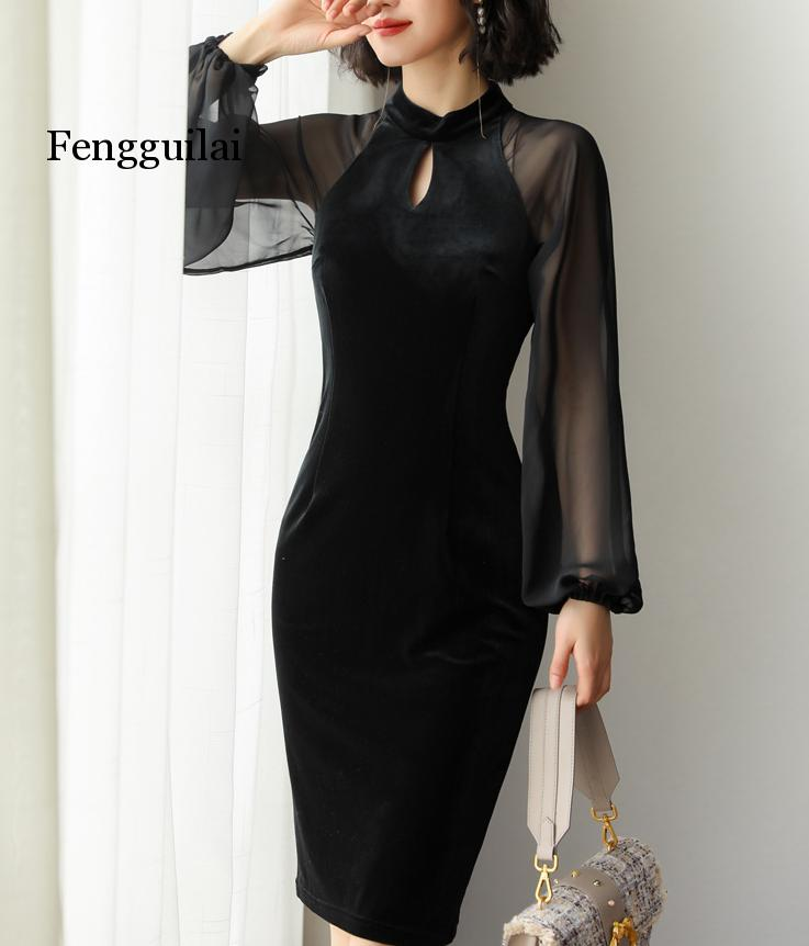 New 2020 Autumn Dress Fashion Velvet dress chiffon lanterns sleeve dress