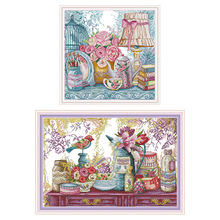Wedding supplies flowers and chinaware painting counting cross stitch set DIY 11CT 14CT printed canvas needlework embroidery kit