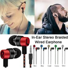 Fashionable In-Ear Stereo Earphone Braided Wire Headset Music Reflective Line Decoration Comfortable Sport Earphone anti skid in ear music headphone nylon wired earphone with braided wiring cord cable wire control subwoofer headset with wheat