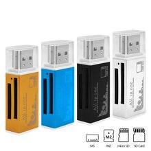Multi Tudo em um 1 Micro Adaptador USB 2.0 Memory Card Reader para Micro SD SDHC TF MMC MS M2 PRO leitor de Cartão DUO Hot-venda 2017
