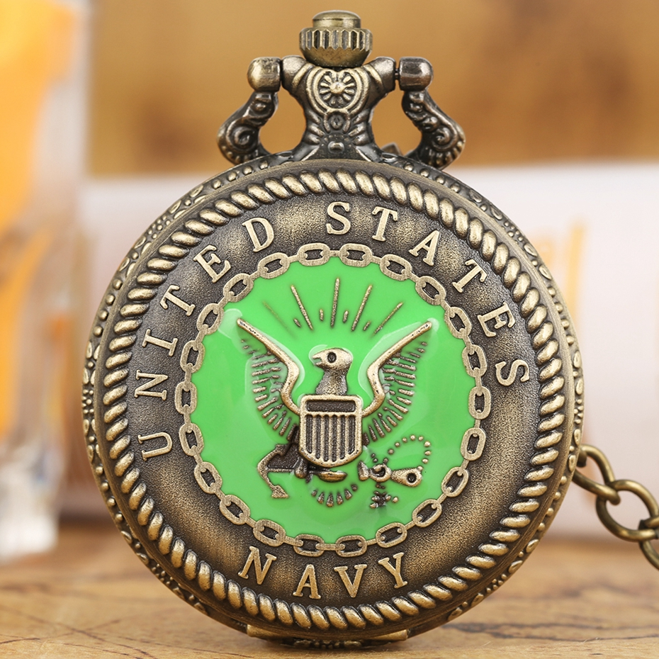 United State Navy Quartz Pocket Watch Bronze Steampunk Antique Green Pendant Watches Fob Sweater Chain Retro Clock For Men Women